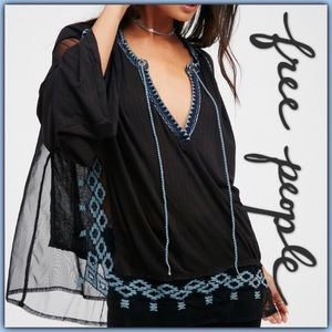 NWT Free People Eden Embroidered Peasant Blouse